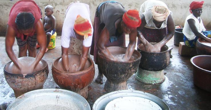 Burkino Faso women extracting shea butter