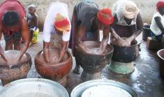 Burkino Faso women extracting shea butter